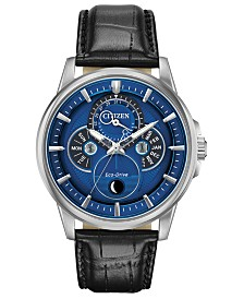 Citizen Eco-Drive Men's Calendrier Black Leather Strap Watch 44mm
