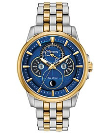Eco-Drive Men's Calendrier Two-Tone Stainless Steel Bracelet Watch 44mm