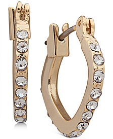 Gold-Tone Pavé Small Square Hoop Earrings 2/3""