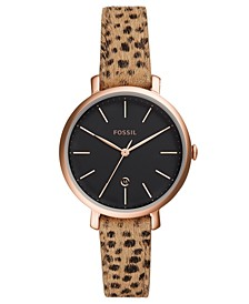 Women's Jacqueline Animal Print Hair Leather Strap Watch 36mm