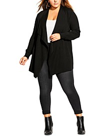 Trendy Plus Size Corset-Back Cardigan
