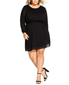 City Chic Trendy Plus Size Dobby Fit & Flare Dress