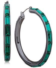 """DKNY Medium Baguette Crystal Hoop Earrings 1-4/5"""""""