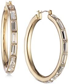 """Medium Baguette Crystal Hoop Earrings 1-4/5"""""""
