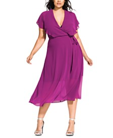City Chic Trendy Plus Size Faux-Wrap Dress