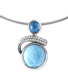 "Larimar (12mm) & Multi-Gemstone (3/4 ct. t.w.) 21"" Adjustable Pendant Necklace in Sterling Silver"