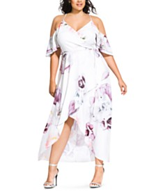 City Chic Trendy Plus Size Sweet Bella Floral-Print Off-The-Shoulder Dress