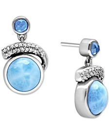 Larimar (10mm) & Multi-Gemstone (1-3/8 ct. t.w.) Drop Earrings in Sterling Silver