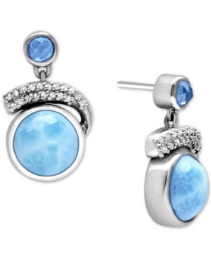 Larimar (10mm) & Multi-Gemstone (1-3/8 ct. t.w.) Drop Earrings in Sterling Silver