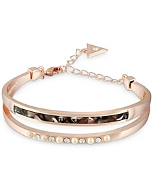 Rose Gold-Tone Crystal, Imitation Pearl & Tortoise-Look Double-Row Bangle Bracelet