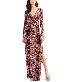 Dianora Animal-Print Faux-Wrap Gown