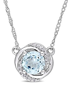 "Blue Topaz (1 ct. t.w.) and Diamond Accent Swirl 17"" Necklace in 10k White Gold"