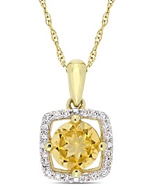 "Citrine (3/4 ct. t.w.) and Diamond (1/10 ct. t.w.) Square Halo 17"" Necklace in 10k Yellow Gold"
