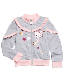 Hello Kitty Toddler Girls Ruffle Trim Glitter Star Jacket