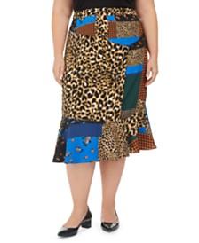 Calvin Klein Plus Size Patchwork Midi Skirt