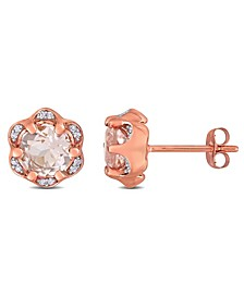 Morganite (1-3/4 ct. t.w.) and Diamond (1/20 ct. t.w.) Flower Stud Earrings in 14k Rose Gold