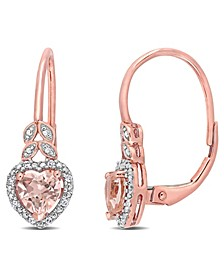 Morganite (1 ct. t.w.) and Diamond Accent Heart Earrings in 10k Rose Gold