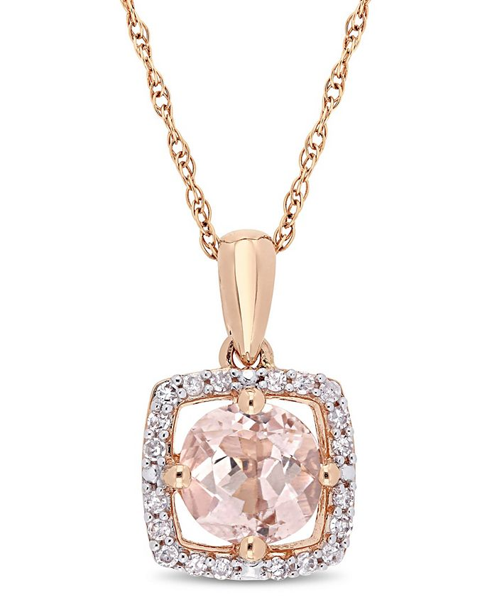 """Macy's - Morganite (4/5 ct. t.w.) and Diamond (1/10 ct. t.w.) Floating Halo 17"""" Necklace in 10k Rose Gold"""
