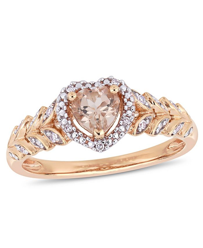 Macy's - Morganite (1/2 ct. t.w.) and Diamond (1/20 ct. t.w.) Halo Heart Ring in 10k Rose Gold
