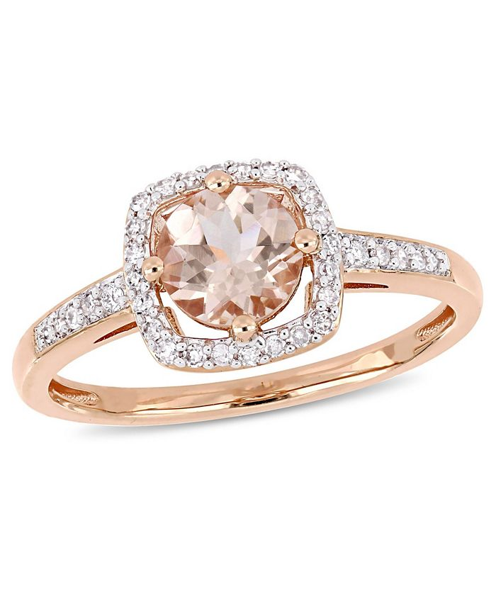 Macy's - Morganite (4/5 ct. t.w.) and Diamond (1/7 ct. t.w.) Square Halo Ring in 10k Rose Gold