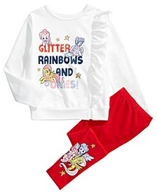 Little Girls 2-Pc. Glitter Rainbows And Ponies Top & Leggings Set