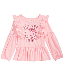 Hello Kitty Little Girls Ruffled Rise And Sparkle Top