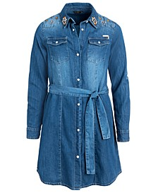 Big Girls Cotton Embellished Denim Dress