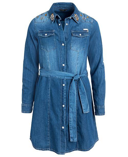 GUESS Big Girls Cotton Embellished Denim Dress