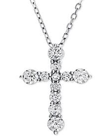Diamond Cross Adjustable Pendant Necklace (1-1/2 ct. t.w.) in 14k White Gold