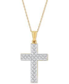 """Two-Tone Textured Cross 18"""" Pendant Necklace in 14k Gold & White Gold"""