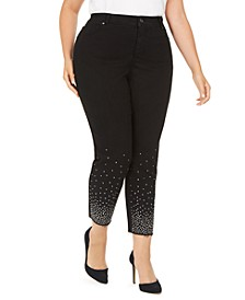 INC Plus Size Embellished Ankle Skinny Jeans, Created For Macy's