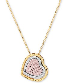 """Tricolor Textured Heart 17"""" Pendant Necklace in 14k Gold, White Gold & Rose Gold"""