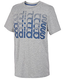 adidas Big Boys Heathered Repeating Logo T-Shirt