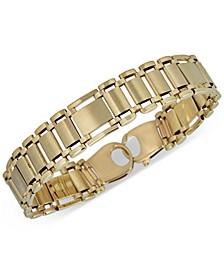 Wide Link Bracelet in 14k Gold