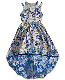 Rare Editions Big Girls Metallic Jacquard High-Low Dress