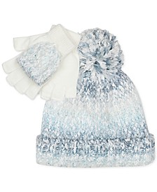 Big Girls 2-Pc. Multi-Yarn Hat & Pop-Top Gloves Set