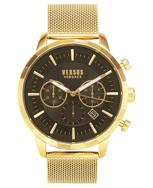 Versus by Versace Men's Chronograph Eugene Gold-Tone Stainless Steel Bracelet Watch 46mm