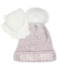 Big Girls 2-Pc. Girl Power Hat & Glittens Set