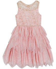 Rare Editions Little Girls Glitter Tiered-Mesh Dress