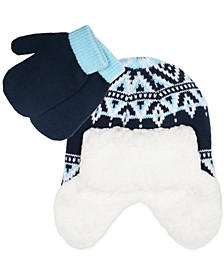 Toddler Boys 2-Pc. Fair Isle Trapper Hat & Colorblocked Mittens Set
