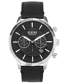 Men's Chronograph Eugene Black Leather Strap Watch 46mm