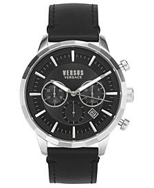 Men's Chronograph Eugene Black Leather Strap Watch 46mm