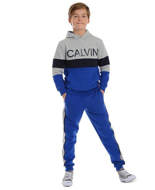 Calvin Klein Big Boys Colorblocked Rugby Stripe Fleece Hoodie & Joggers