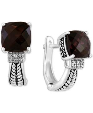 Effy Smoky Quartz (5-5/8 ct. t.w.) & Diamond (1/20 ct. t.w.) Hoop Earrings in Sterling Silver