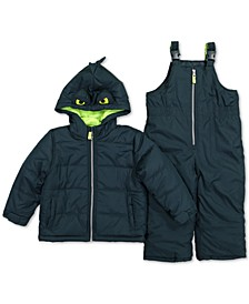 Toddler Boys 2-Pc. Dinosaur Jacket & Snowbib Snowsuit