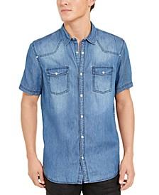 INC Men's Short-Sleeve Western Denim Shirt, Created For Macy's