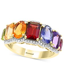 EFFY® Multi-Gemstone (3-1/3 ct. t.w.) & Diamond (1/5 ct. t.w.) Statement Ring in 14k Gold