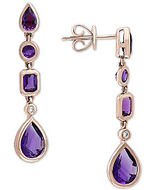 EFFY® Amethyst (2-5/8 ct. t.w.) & Diamond Accent Drop Earrings in 14k Rose Gold