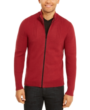 60s 70s Men's Jackets & Sweaters Inc Mens Samuel Zip-Front Cardigan Created For Macys $29.99 AT vintagedancer.com