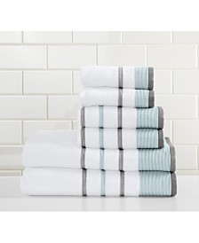 Great Bay Home Luxury Hotel Spa Striped Bath Towel Set of 6